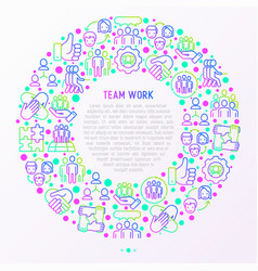 teamwork concept in circle with thin line icons vector image