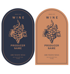 Two wine labels with hand-drawn bunch grapes vector