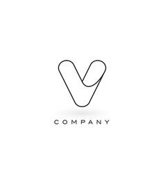 V monogram letter logo with thin black monogram vector