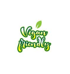 vegan friendly word font text typographic logo vector image