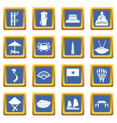 Vietnam travel icons set blue vector