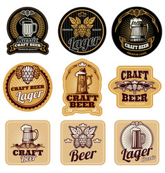 Vintage beer bottle labels vector