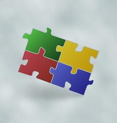 Vintage set colorful puzzle pieces vector image