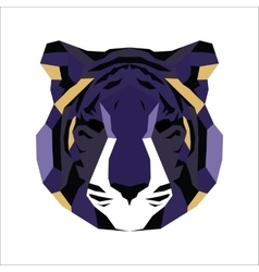 Violet and yellow low poly tiger vector
