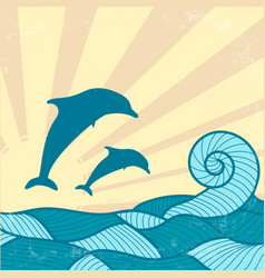 Vitage poster with dolphins vector