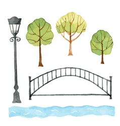 Watercolor set of urban elements vector