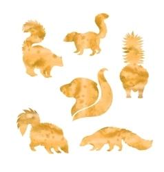 Watercolor silhouettes of skunk vector