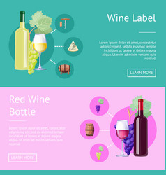 Wine label and bottle of red internet banners vector