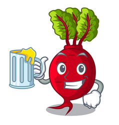 With juice beetroot with leaves isolated on mascot vector