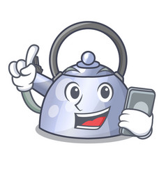 With phone cartoon whistling kettle for gas cooker vector