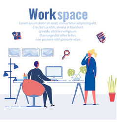 Work space department with young creative workers vector