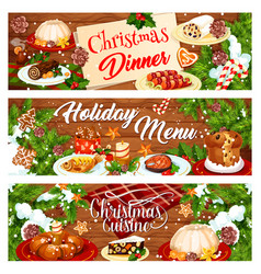 Christmas menu banner with xmas dinner dishes vector