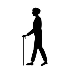 elderly people with cane walking silhouette vector image