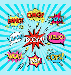 set of comic speech bubbles with text wow omg vector image