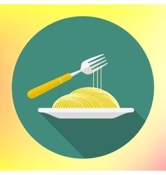 spaghetti fork flat icon vector image
