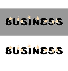 Business typography Pointing hand alphabet vector image