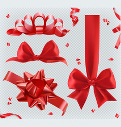 decorations red bows 3d set of icons vector image vector image