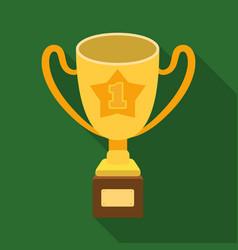 gold cup of the winner on a wooden stand with the vector image
