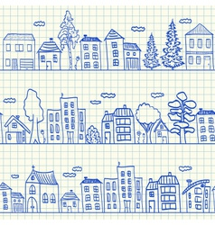 Houses doodles on school squared paper vector image