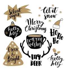 Merry Christmas lettering set Hand lettered vector image vector image