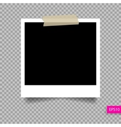 polaroid photo frame template on sticky tape pi vector image