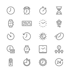 time and clock thin icons vector image