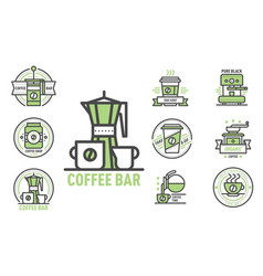 coffee badge logo food design thin line lettering vector image