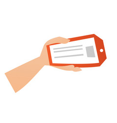 Hand holding a red price tag vector