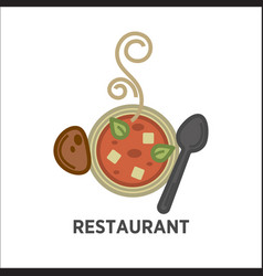 restaurant icon template of soup plate vector image vector image