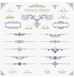 Baroque Set of vintage decor elements calligraphic vector image