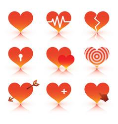 black hearts icons set vector image
