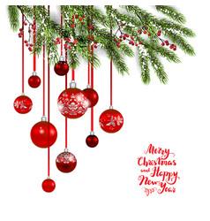 christmas tree and balls vector image
