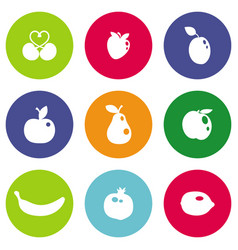 different fruits icons vector image vector image