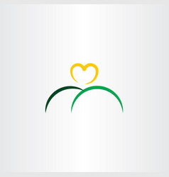 heart sun and mountain logo icon vector image vector image