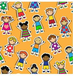 Seamless orange background with Cartoon children vector image vector image
