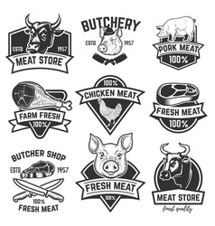 set of fresh beef labels isolated on white vector image vector image