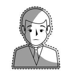 sticker silhouette half body man formal style vector image vector image