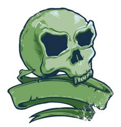 tattoo style skull banner illustration vector image