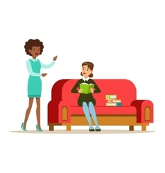 Woman Sitting On Sofa Reading A Book Talking To A vector image vector image