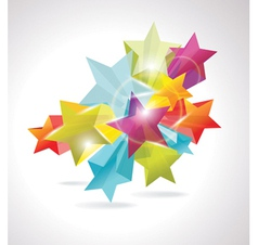 3d glass stars vector