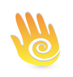 abstract hand with swirly flowing design icon vector image