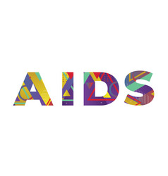 Aids concept retro colorful word art vector