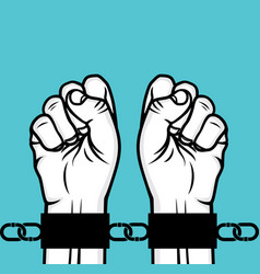 Arrested man hand and hand cuffs vector