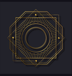 Art deco gold black abstract line frame background vector