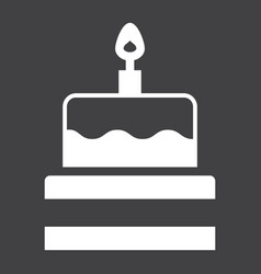 Birthday cake solid icon sweet and holiday vector