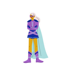 blonde young woman in bright superhero costume vector image