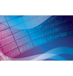 blue and violet background with music notes vector image