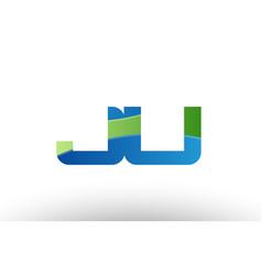 blue green ju j u alphabet letter logo vector image