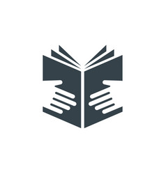 book hands concept logotype template design vector image