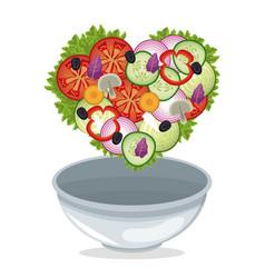 Bowl salad vegetables shape heart diet vector
